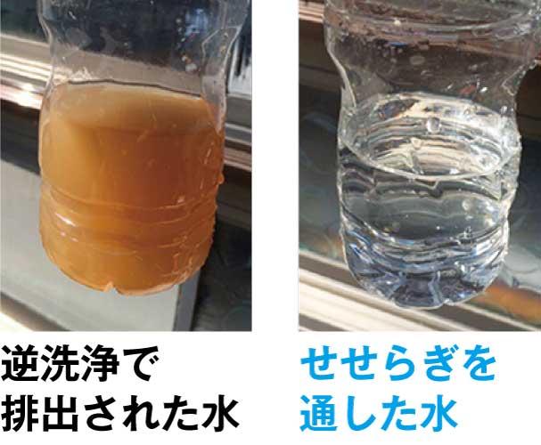 逆洗浄で排出された水は赤錆などの汚れで濁っています。